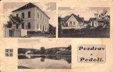 Podolí, vlevo škola, napravo obchod O. Eisnera a pomník obětem 1. sv. války (původně stál u silnice), dole Honsův mlýn a Charyparova hospoda na Podolsku